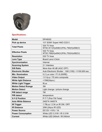 Specifications: Model DFH8302 Pick up device 1/3 ... - CCTV Direct