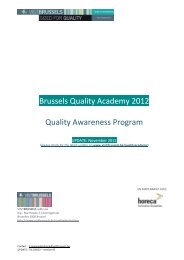 Brussels Quality Academy 2012 Quality Awareness ... - VisitBrussels