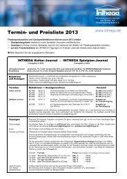 INTHEGA - Termin- und Preisliste 2013