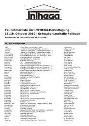 Teilnehmerliste Homepage - Inthega