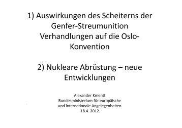 Vortrag nukleare Abrüstung - Österreichisches Rotes Kreuz
