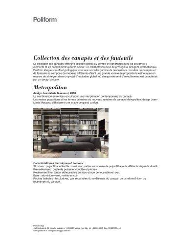 Collection des canapés et des fauteuils Metropolitan - Poliform