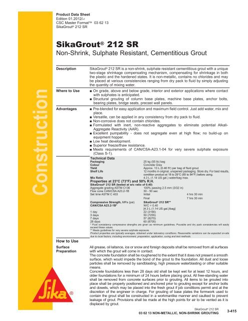 SikaGrout® 212 SR - Sika Canada