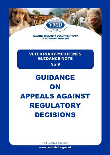 VMGN 09 - Guidance on Appeals against Regulatory Decisions
