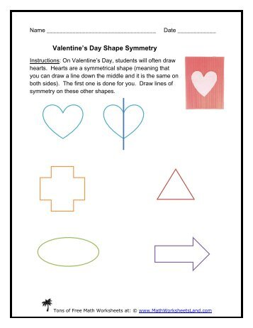 Valentines Day Shape Match Math Worksheets Land