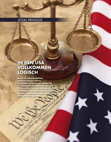 Für einen amerikanischen In-house Lawyer gelten prinzipiell ...