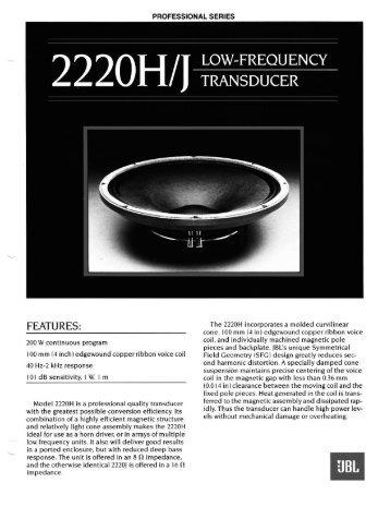2220H/J - JBL Professional