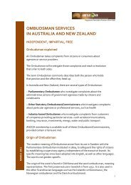 ombudsman services in australia and new zealand - Australian and ...