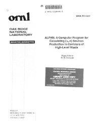 ALPHN: a computer program for calculating (alpha, n) - Oak Ridge ...