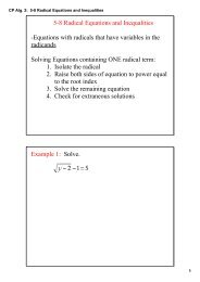 CP Alg. 2: 5-8 Radical Equations and Inequalities