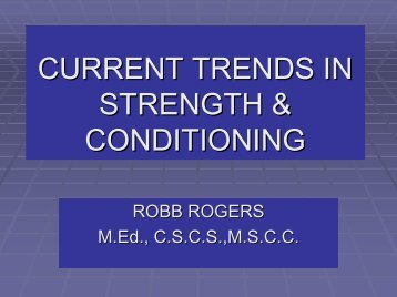 Current Trends in Strength and Conditioning - sbc