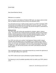 Referral Letter - Tufts Health Plan