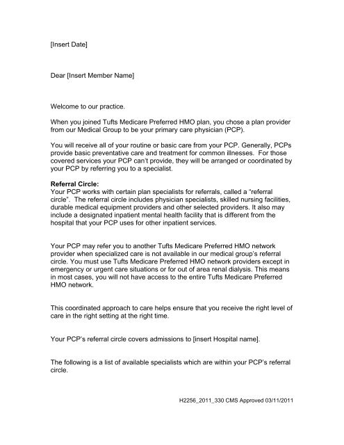 Referral Letter Tufts Health Plan