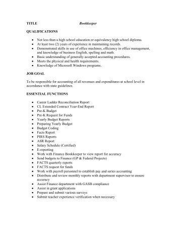 C Bookkeeper  Job Description  Perkins County Schools