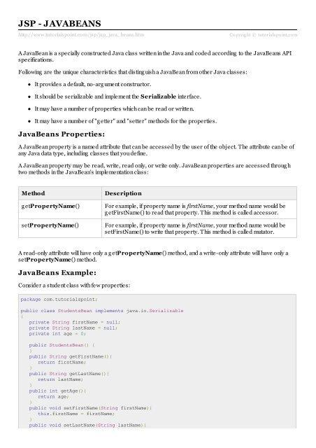 JSP - JavaBeans - Tutorials Point