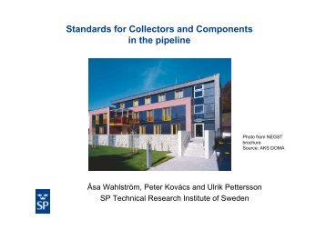 Standards for Collectors and Components in the pipeline