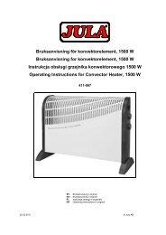 Bruksanvisning för konvektorelement, 1500 W Bruksanvisning ... - Jula