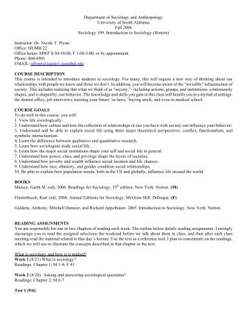 Department of Sociology and Anthropology - University of South ...