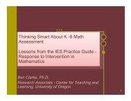 Thinking Smart about K-8 Math Assessment - Center on Teaching ...