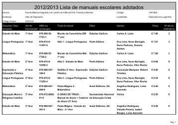 2012/2013 Lista de manuais escolares adotados - Portal das ...