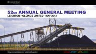 Annual General Meeting Presentation (PDF - 12.7 MB) - Leighton ...