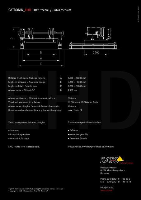 SATRONIK_EHD Dati tecnici / Datos técnicos - Sato