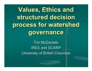 Values, Ethics and structured decision process for watershed ...
