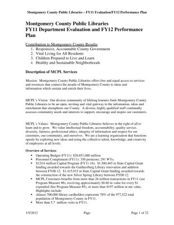 Montgomery County Public Libraries FY11 Department Evaluation ...
