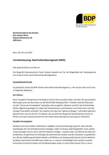 Vernehmlassung: Nachrichtendienstgesetz (NDG) - BDP