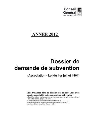Association Demande De Subvention