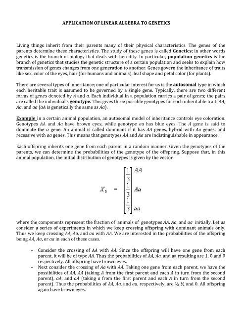 APPLICATION OF LINEAR ALGEBRA TO GENETICS Living things