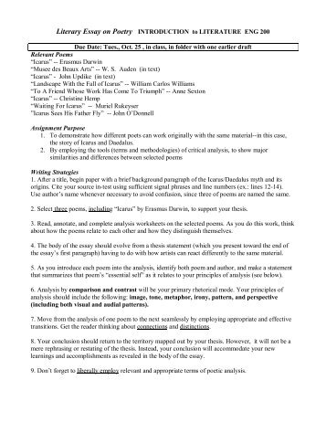written response to literature final exam essay assignment literary essay on poetry introduction to literature eng 200