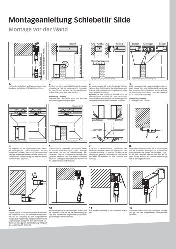 montageanleitung schiebet r slide montage vor der wand. Black Bedroom Furniture Sets. Home Design Ideas
