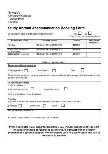 Accommodation booking form per room mountain motorsports study abroad accommodation booking form st marys university pronofoot35fo Choice Image