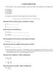 Rising 10th Grade Geometry Summer Review Packet Directions