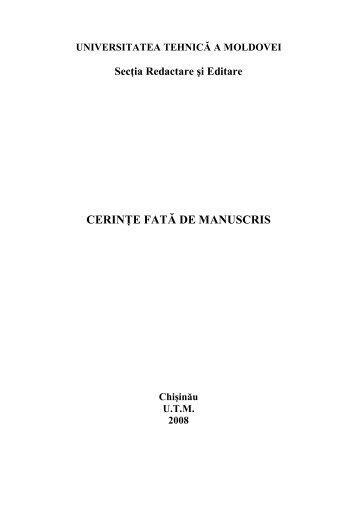 Cerinte fate de manuscris - Universitatea Tehnică a Moldovei
