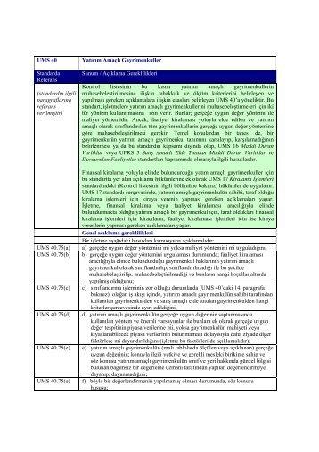 UMS 40 Yatırım Amaçlı Gayrimenkuller Standarda ... - Denetimnet.Net