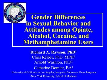 Gender Differences in Sexual Behavior and Attitudes among Opiate ...
