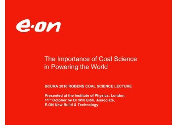 7). the bcura coal science lecture 2010, dr will gibb