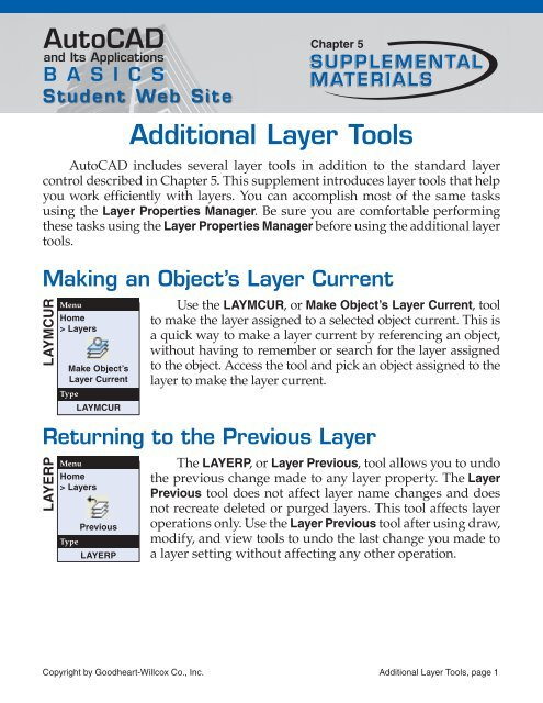 AutoCAD Additional Layer Tools