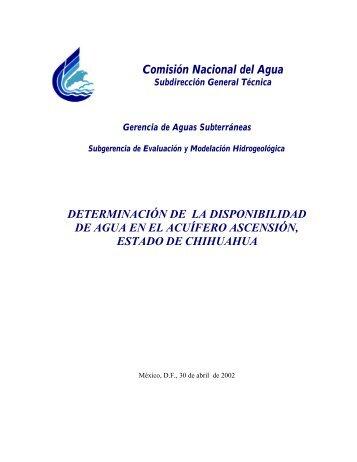 determinación de la disponibilidad de agua en el acuífero ...