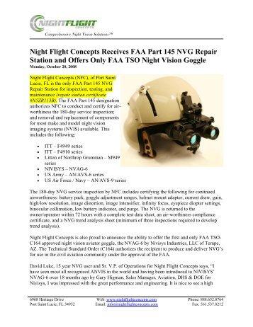 Night Flight Concepts Receives FAA Part 145 NVG Repair Station ...