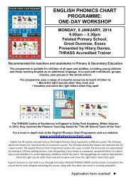 140106 English Phonics One-Day Workshop Felsted ... - THRASS