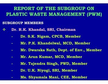 report of the subgroup on plastic waste management (pwm) - Delhi