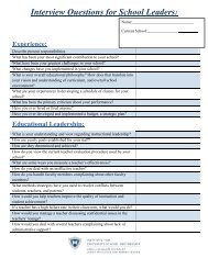 Sample Interview Questions for School Leaders