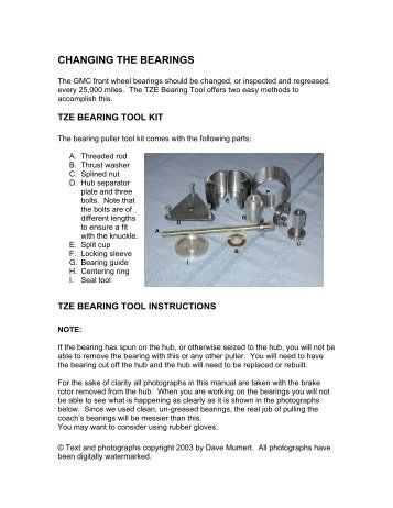 CHANGING THE BEARINGS - Bdub.net