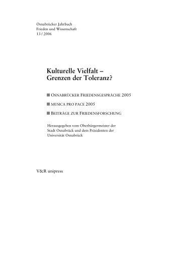 Kulturelle Vielfalt – Grenzen der Duldsamkeit? - Osnabrücker ...