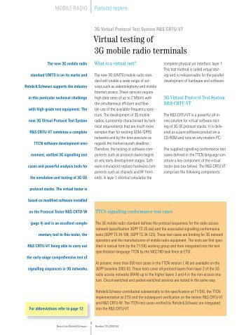 Virtual testing of 3G mobile radio terminals - Rohde & Schwarz