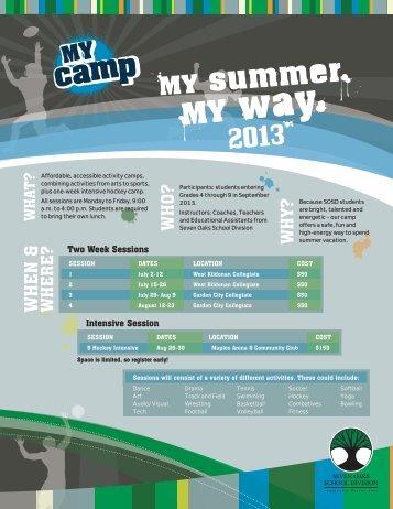 2013 MY Camp brochure & registration form - Seven Oaks School ...