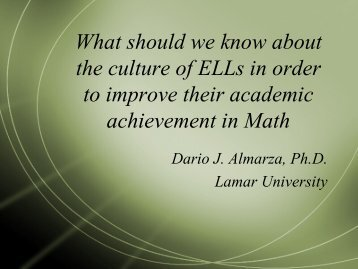 What should we know about the culture of ELLs in order to improve ...